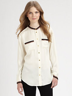 Equipment - Devon Collarless Silk Shirt