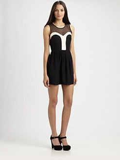 Parker - Silk Mesh-Block Dress