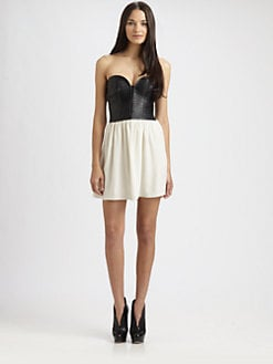 Parker - Leather-Bustier Dress