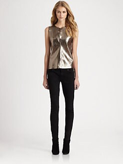PJK Patterson J. Kincaid - Vena Metallic Leather Top