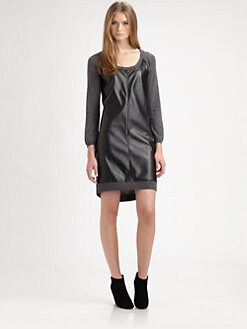 C&C California - Leatherette-Panel Sweaterdress