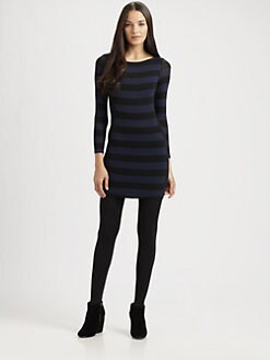 Red Haute - Striped Bodycon Sweaterdress