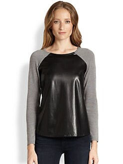 Design History - Faux Leather-Paneled Sweater