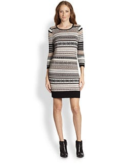 Design History - Fairisle-Paneled Striped Sweater Dress