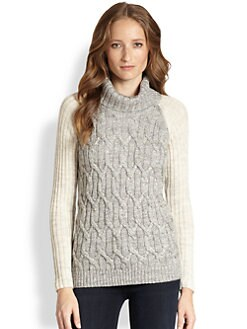 Design History - Ribbed Raglan-Sleeved Diamond-Patterned Sweater