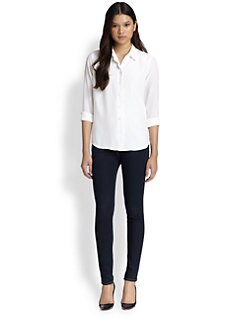Equipment - Brett Scalloped Silk Shirt