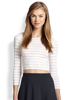 Bailey 44 - Sheer-Striped Stretch Jersey Cropped Top