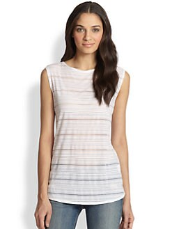 Twenty Tees - Sheer Mesh-Striped Jersey Tank