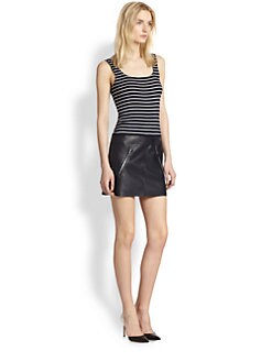 Bailey 44 - Division Striped Stretch Jersey & Faux Leather Dress