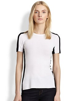 Bailey 44 - Mesh-Trimmed Two-Tone Stretch Jersey Tee