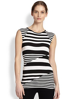 Bailey 44 - Contrast-Striped Paneled Stretch Jersey Top