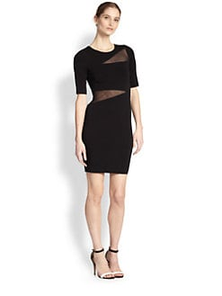 Bailey 44 - Vanishing Point Asymmetrical Sheer-Paneled Dress
