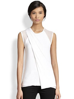 Bailey 44 - Sheer-Paneled Asymmetrical Wrap-Effect Tee