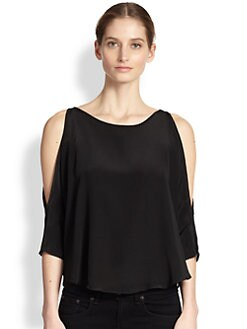 Bailey 44 - Fauve Cutout-Shoulder Silk Trapeze Top