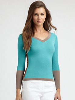 Saks Fifth Avenue Collection - Silk/Cashmere V-Neck Top