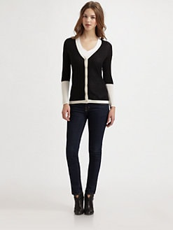 Saks Fifth Avenue Collection - Silk/Cashmere Colorblock Cardigan
