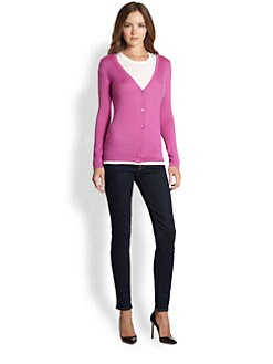 Saks Fifth Avenue Collection - Silk/Cashmere V-Neck Cardigan