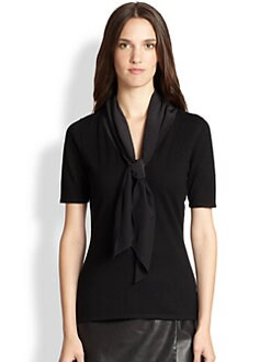 Saks Fifth Avenue Collection - Contrast Tie-Front Sweater