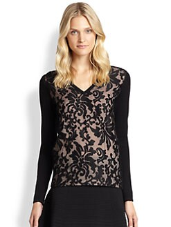 Saks Fifth Avenue Collection - Cashmere Lace-Overlay Sweater