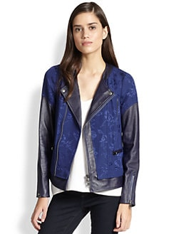 Rebecca Taylor - Floral Jacquard & Leather Moto Jacket