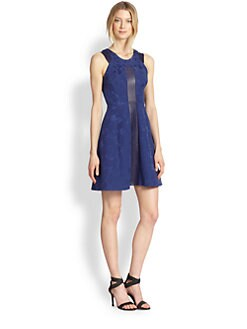 Rebecca Taylor - Leather-Trim Brocade Dress