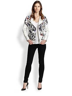 Rebecca Taylor - Floral Print-Overlay Leather Jacket