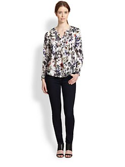 Rebecca Taylor - Silk Print Pintucked Blouse
