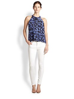 Rebecca Taylor - Printed Silk Pleated Trapeze Top
