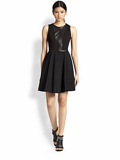 Rebecca Taylor - Ponte & Leather Dress