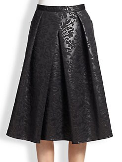 Tibi - Coated Floral Brocade A-Line Skirt