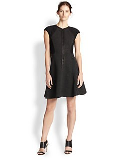 Rebecca Taylor - Lace & Quilting-Paneled Fit-&-Flare Dress