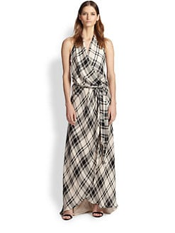 Haute Hippie - Plaid Silk Halter Wrap Gown