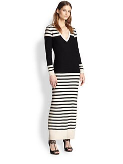 Haute Hippie - Striped Wool Maxi Sweaterdress