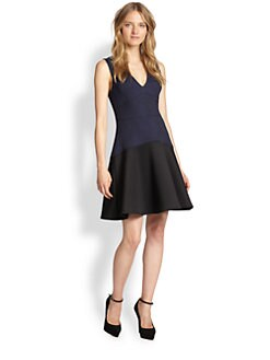 Rebecca Taylor - Textured Jacquard-Paneled Fit-&-Flare Dress