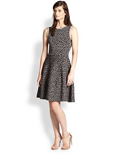 Rebecca Taylor - Leopard-Print Stretch Knit Fit-&-Flare Dress