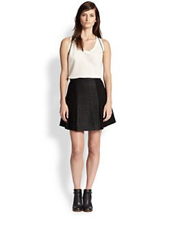 Rebecca Taylor - Mixed-Media Pleated A-Line Skirt