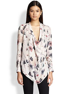 Haute Hippie - Return of the Cowl Silk Floral-Print Blouse