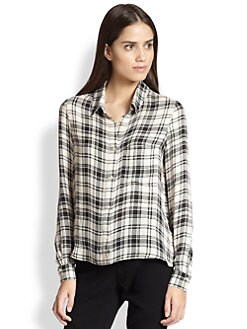 Haute Hippie - To JJ With Love Silk Plaid Blouse