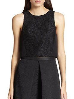 Tibi - Worth Embroidered-Front Jacquard Cropped Top