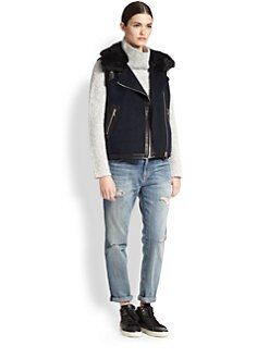 Rebecca Taylor - Lamb Shearling/Leather-Trimmed Felt Vest