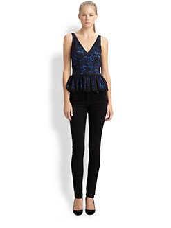 Robert Rodriguez - Lace Peplum Top