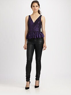 Robert Rodriguez - Metallic Lace Peplum Top