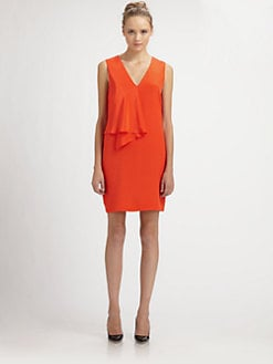 Tibi - Drape-Front Silk Dress