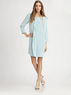 Tibi - Solid Silk Drape Dress