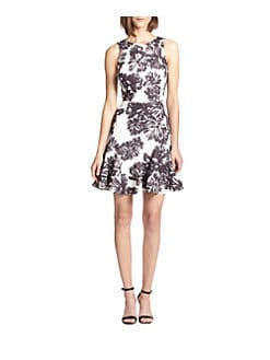 Rebecca Taylor - Flower-Print Fit-and-Flare Dress
