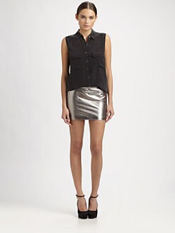 Robert Rodriguez - Metallic Leather Mirco Mini Skirt