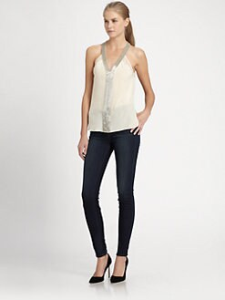 Robert Rodriguez - Sleeveless Beaded V-Neck Top