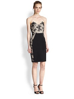 Mason by Michelle Mason - Embroidered Strapless Dress