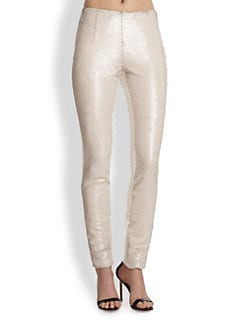 Sachin & Babi - Sequined-Front Faux Leather Skinny Pants