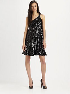 Halston Heritage - Sequined One-Shoulder Dress